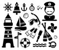 Nautical icons and summer used graphic design Royalty Free Stock Images