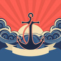 Nautical label with anchor and blue sea waves vector illustration for text Stock Image