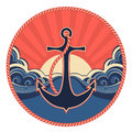 Nautical label with anchor and sea waves abstract vector illustration Stock Photography