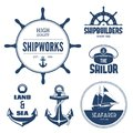 Nautical labels blue signs and in vector Royalty Free Stock Image