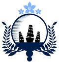 Nautical logo in blue tones isolated Royalty Free Stock Photo