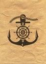 Nautical Logo on kraft paper background. Marine Label, Sea Badge