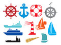 Nautical and marine icons boat ship set stylized yacht Stock Photography