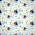 Nautical pattern set of cute seamless with elements Stock Image