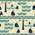 Nautical pattern with waves, sailboats and lighthouses