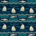 Nautical pattern with waves, sharks and sailboats