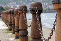 Nautical railings sea and railings banisters chains Stock Photos