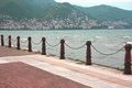 Nautical railings sea and railings banisters chains Stock Photos