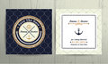 Nautical rope wedding card on fishnet background Royalty Free Stock Photo