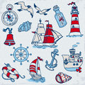Nautical sea design elements scrapbook design Royalty Free Stock Photo