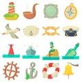Nautical sea icons set, cartoon style