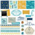 Nautical sea theme scrapbook design elements for scrapbook and design in Royalty Free Stock Images