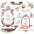 Nautical sea wedding collections a vector illustration of Stock Photos