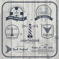Nautical and seafood labels set Royalty Free Stock Photo
