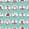 Nautical seamless pattern with a lighthouse ships sailboats anchor oars wheel and bottle with a message eps Royalty Free Stock Images