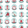 Nautical seamless pattern with sea elements a lighthouse ships sailboats anchor oars wheel and bottle a message eps Royalty Free Stock Photo