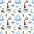 Nautical seamless pattern watercolor illustrations Royalty Free Stock Photos