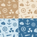Nautical Seamless Patterns Stock Image