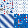 Nautical Seamless patterns Royalty Free Stock Photos