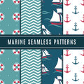 Nautical seamless patterns for kids. Marine vector background set with sailboat, sea anchor and yacht