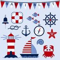 Nautical set. Marine theme. Sea travel. Anchor, steering wheel, ship, lighthouse, crab, starfish, fish, compass, shell, knot, bell