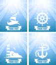 Nautical set of seascape in mozaic style with elements Stock Photography
