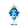 Nautical ship vector logo concept illustration. Flat style design. Marine transport sign badge. Sea boat symbol. Ocean liner.