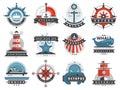Nautical templates set marine labels sea badges anchor design emblems graphics vector illustration.