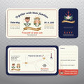 Nautical ticket hipster bride and groom wedding invitation and RSVP card Royalty Free Stock Photo