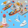 Nautical transport cargo shipping port flat 3d isometric vector