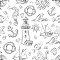 Nautical vector doodle seamless pattern with sea animals, sailboat and anchor