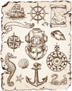 Nautical vector illustration set of various illustrations Stock Photo