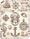 Nautical Vector Illustration Set Royalty Free Stock Photo