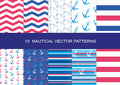 10 NAUTICAL VECTOR PATTERNS Royalty Free Stock Photo