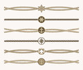 Nautical vintage rope vector dividers Royalty Free Stock Photo