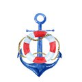 Nautical vintage watercolor illustration with an anchor and lifebuoy