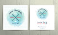 Nautical water colour wedding invitation card template set