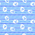 Nautical Watercolor  grunge  Seamless Pattern Royalty Free Stock Photo