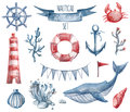 Nautical watercolor set Royalty Free Stock Photo