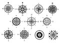 Nautical wind rose and compass icons set vintage or marine for travel navigation design Royalty Free Stock Image