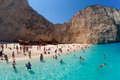 Navagio beach near sheepwreck in zakynthos island greece Stock Photo