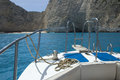 Navagio beach view of smuggler s shipwreck at from the seaside zakynthos Royalty Free Stock Photo