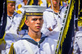Naval academy students participate in colombia s barranquilla february most important folklore celebration the carnival Stock Image