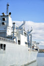 Naval auxiliary ship in the bay Stock Photo