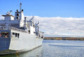 Naval auxiliary ship in the bay Stock Images