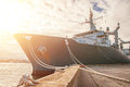 Naval auxiliary ship docked at the harbor Royalty Free Stock Photography
