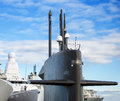 Naval fleet submarine and warships with guns Royalty Free Stock Photo