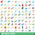 100 naval icons set, isometric 3d style