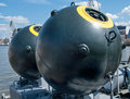 Naval mine as part of the equipment ship Stock Images
