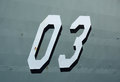 Naval number numbers on the hull of a vessel Stock Images
